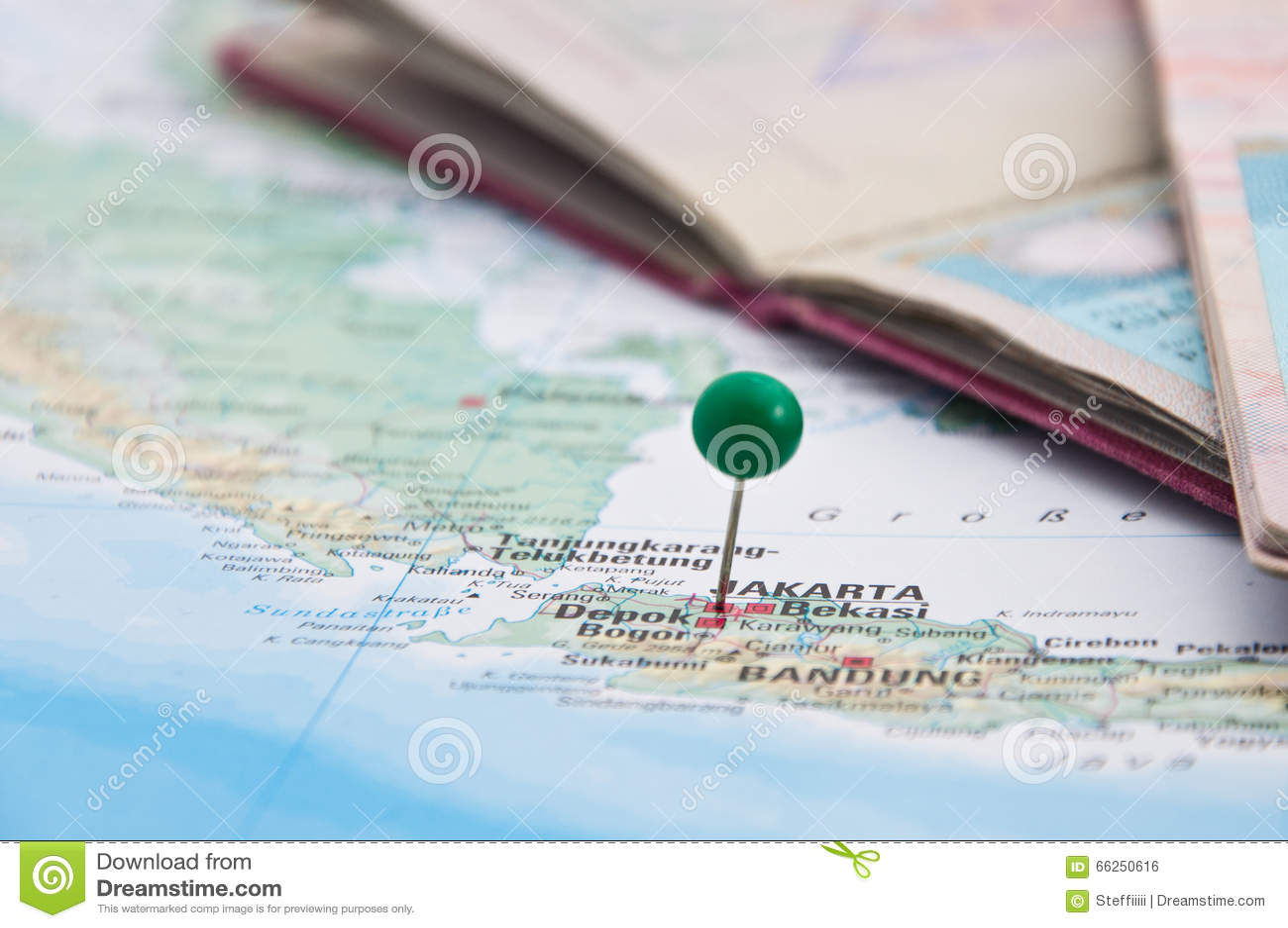 Jakarta, Java, Indonesia, GreenPin And Passport, Close-Up Of Map ...