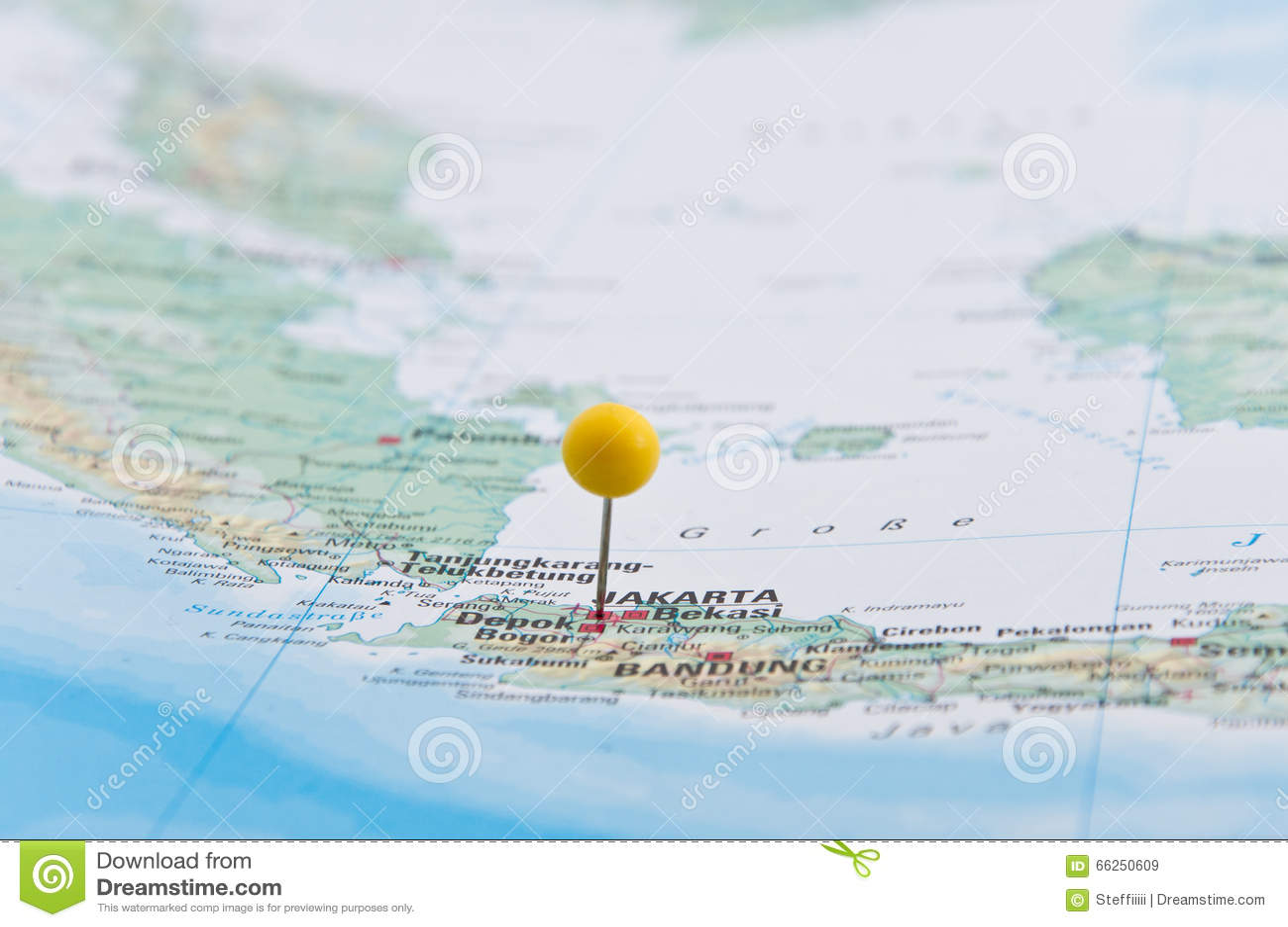 Jakarta, Java, Indonesia, Yellow Pin, Close-Up of Map.