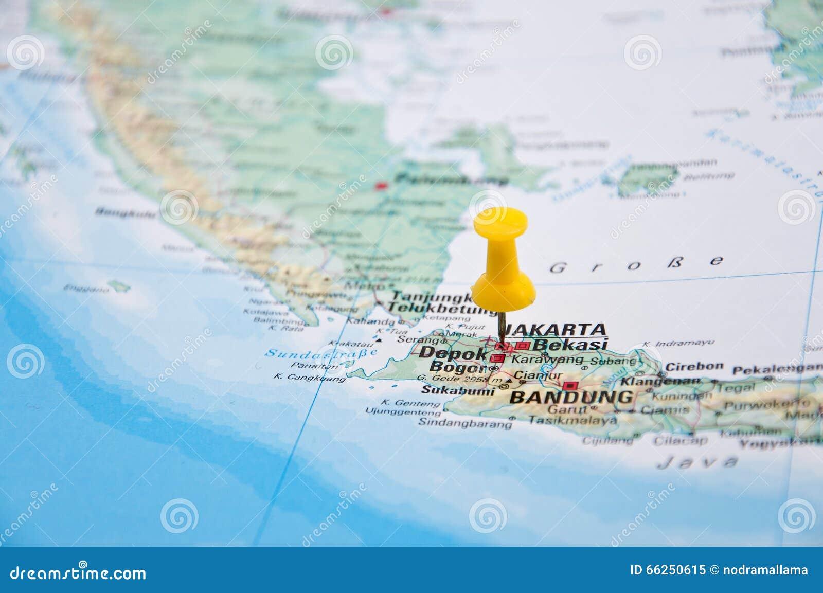 Jakarta, Java, Indonesia, Yellow Pin, Close-Up Of Map. Stock Photo ...