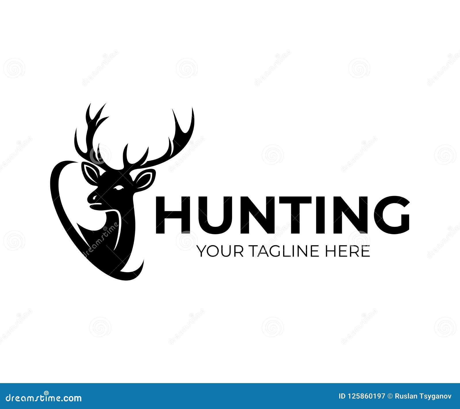 Jakt och hjortar med horn, logodesign Natur och djurliv, vektordesign
