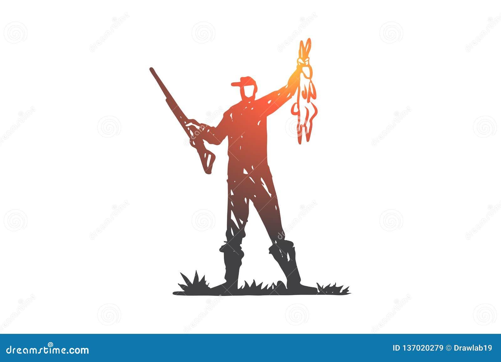 Jakt skott, gevär, rov, löst begrepp Hand dragen isolerad vektor