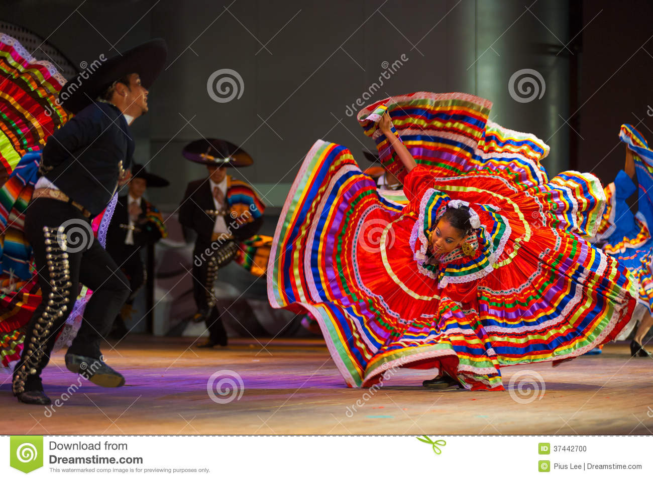 Jalisco Mexican Folkloric Dance Dress Spread Red Editorial
