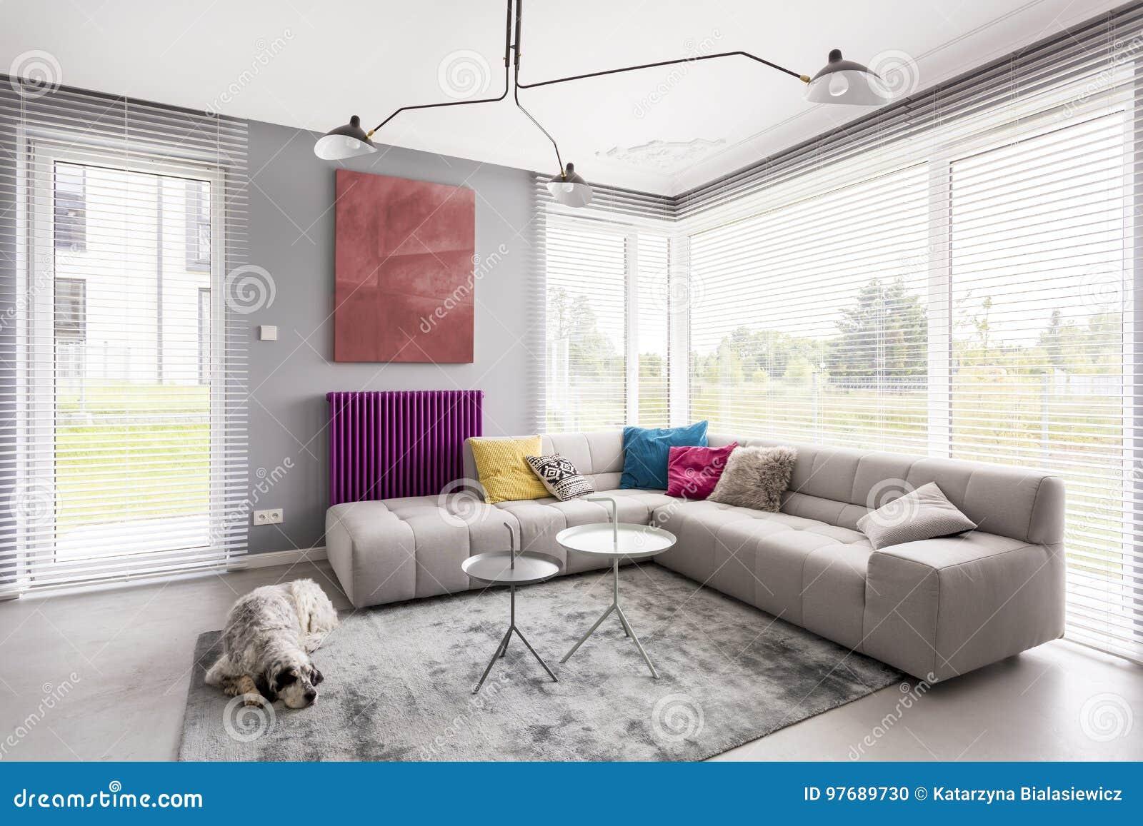Jalousien, Couch und Grafik