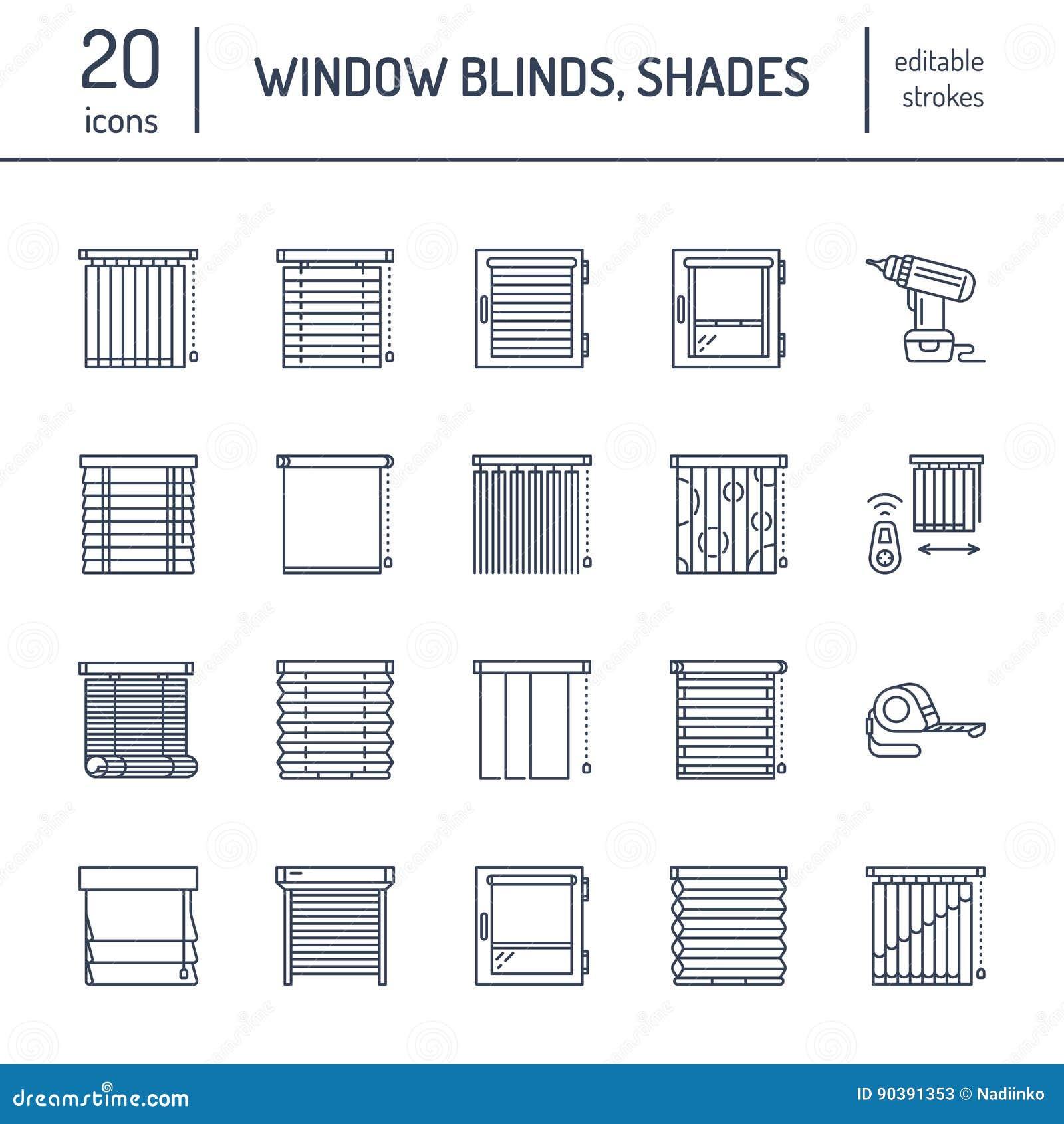 Jalousien, Schattenlinie Ikonen Verdunkelungsdekoration des verschiedenen Raumes, Rollenfensterläden, römische Vorhänge, horizont