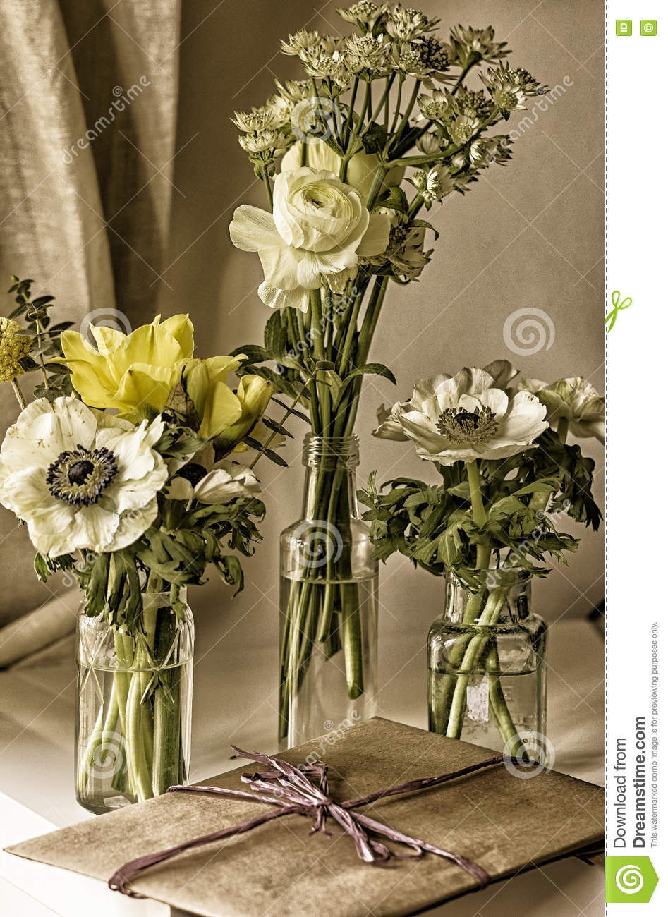 Jam Jar Flowers Stock Photo Image Of Anemone Bottle 75159308