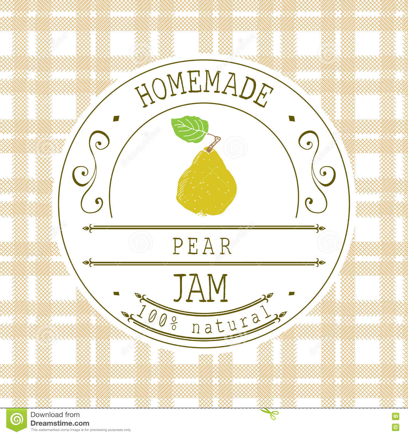 jam label design template for pear dessert product with hand drawn