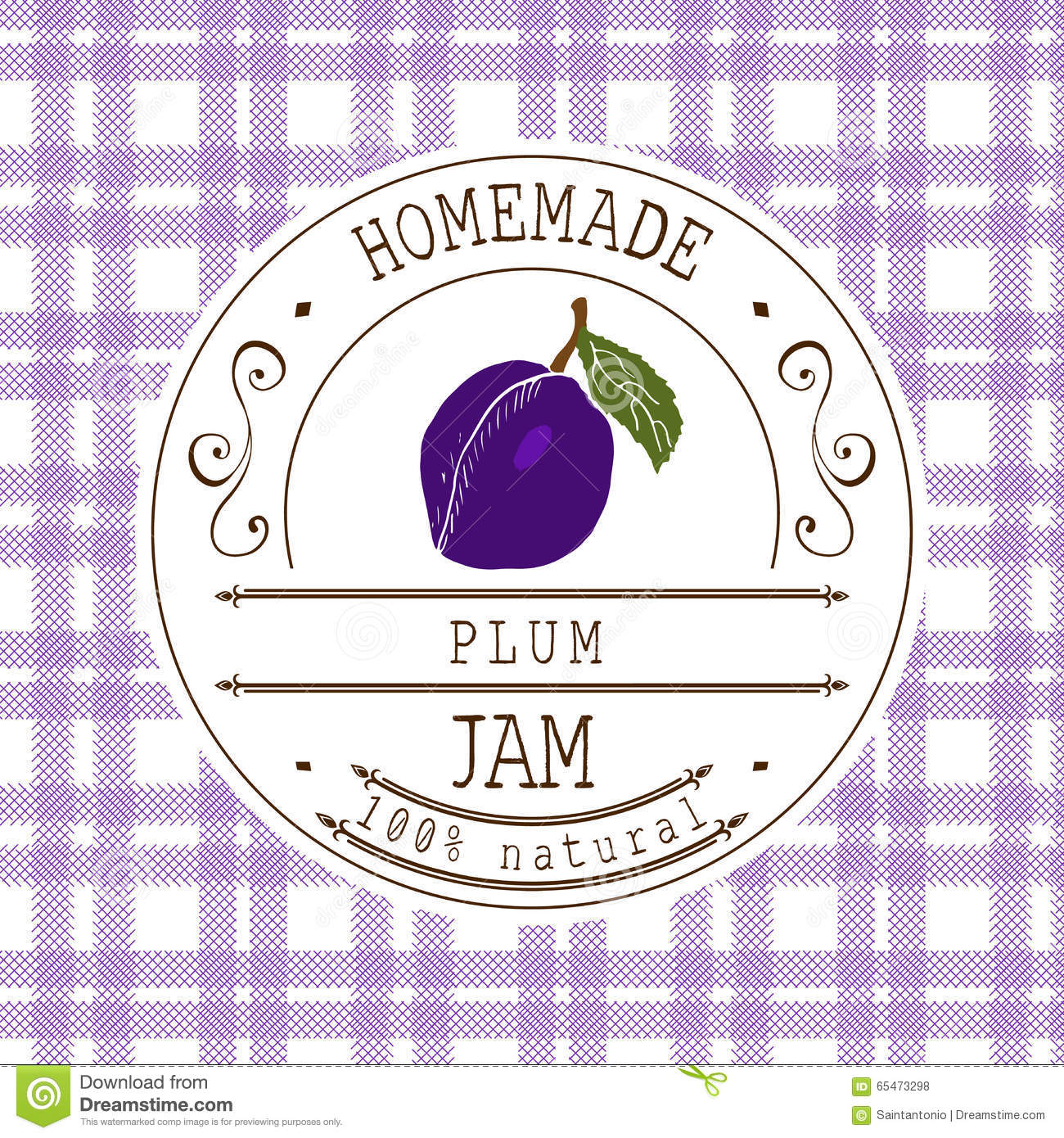 Jam Label Design Template For Plum Dessert Product With