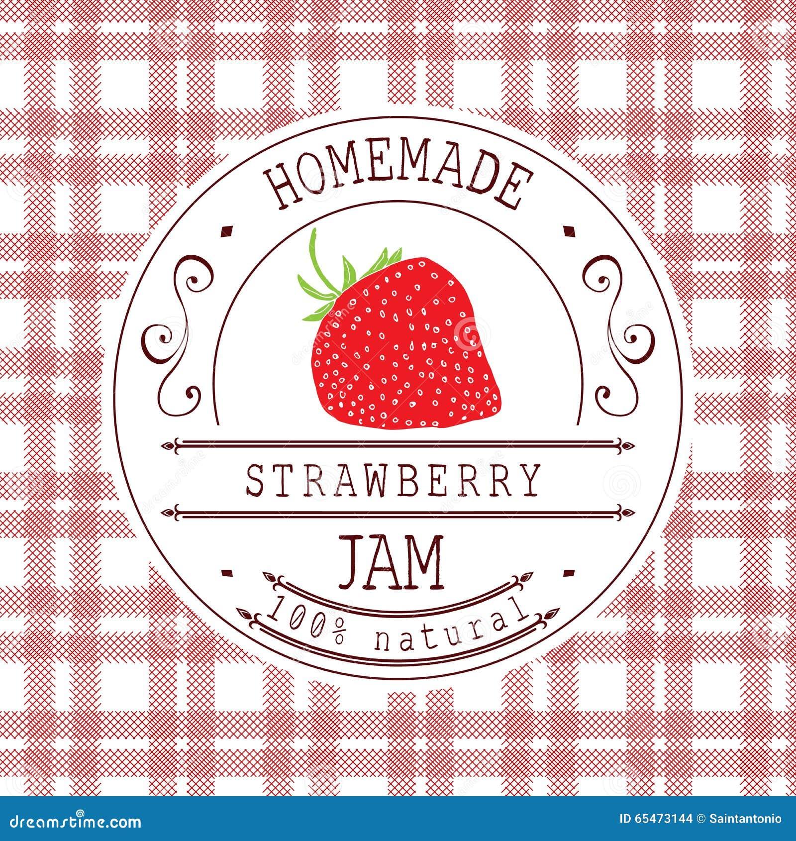 jam label design template for strawberry dessert product
