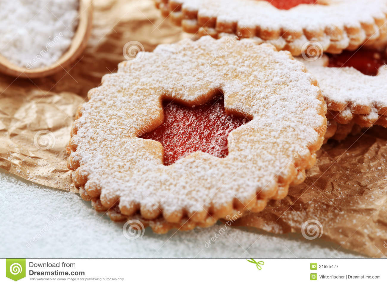 Jam Shortbread Cookies Stock Image Image Of Xmas Powdered 21895477