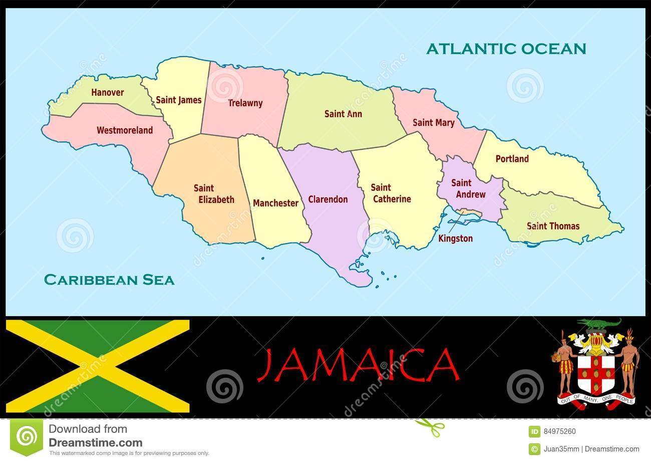 Jamaica Administrative Divisions Stock Illustration - Illustration ...