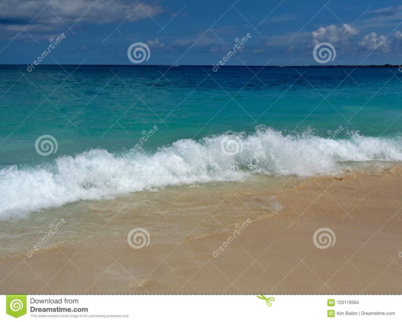 Bahamas beach with crashing waves