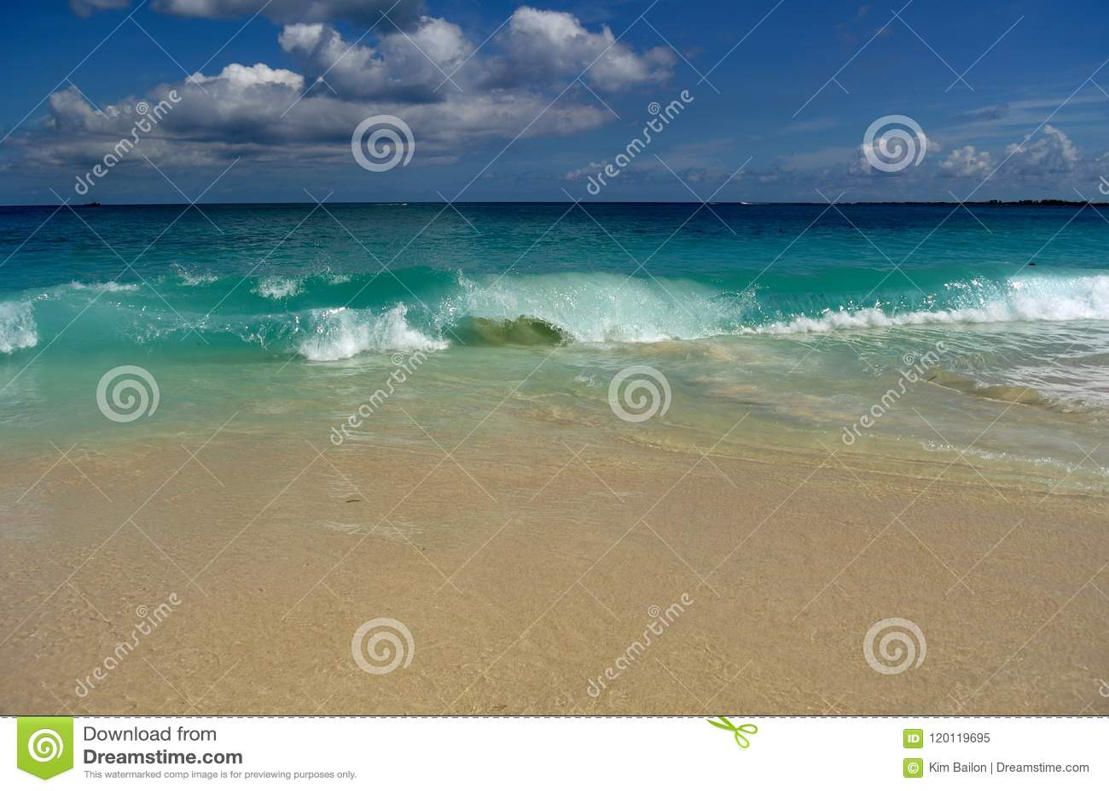 Bahamas beach waves curled crash