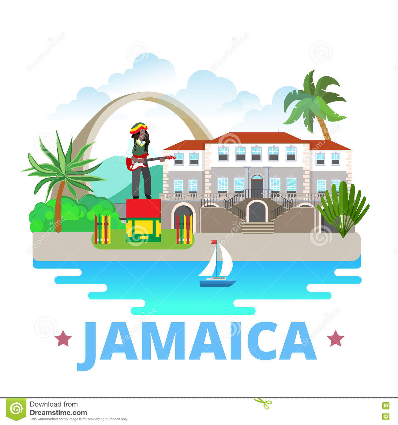 Jamaica Country Design Template Flat Cartoon Style Stock