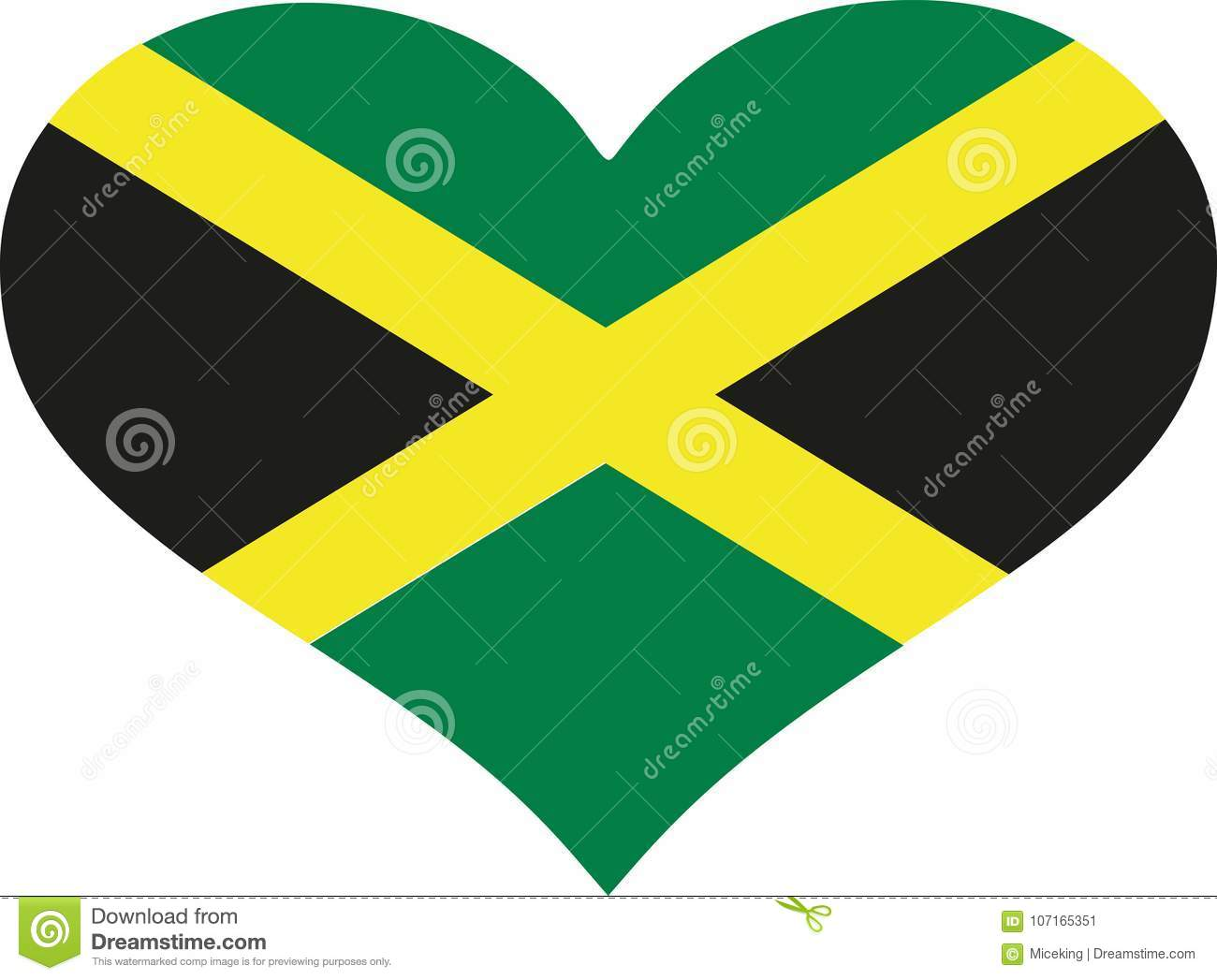 Download jamaica flag heart stock vector illustration of flag 107165351