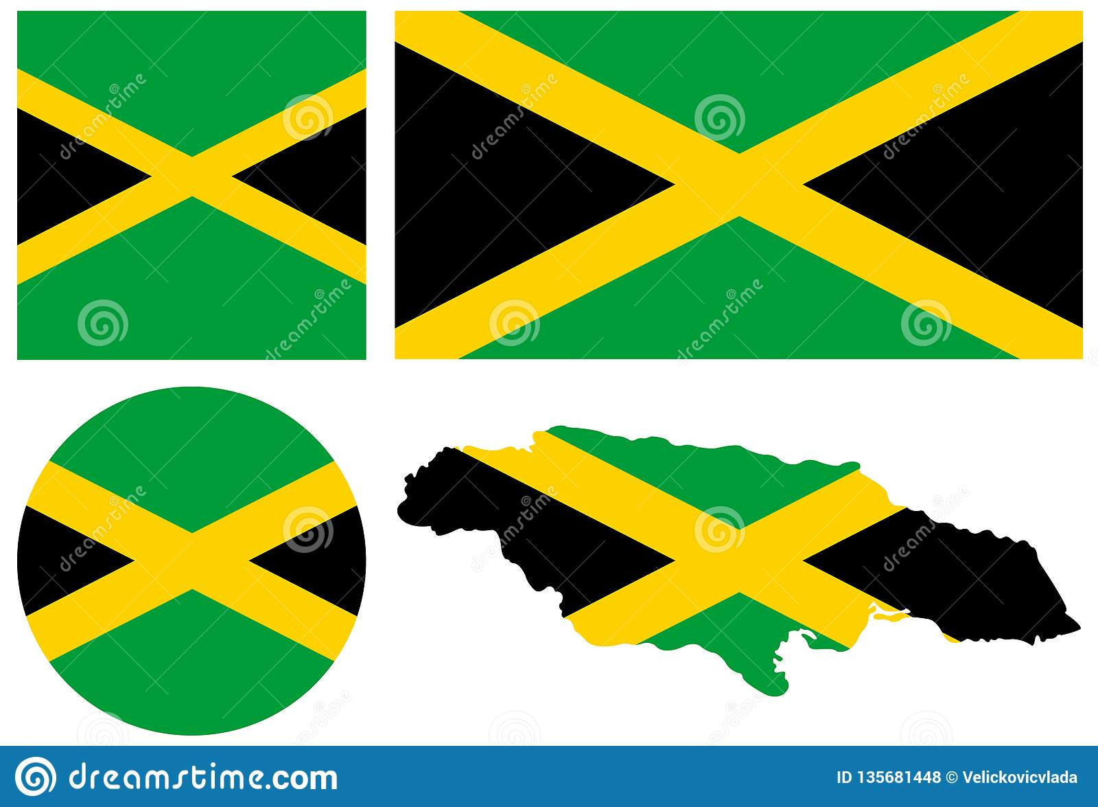 Jamaica flag and map - island country situated in the Caribbean Sea