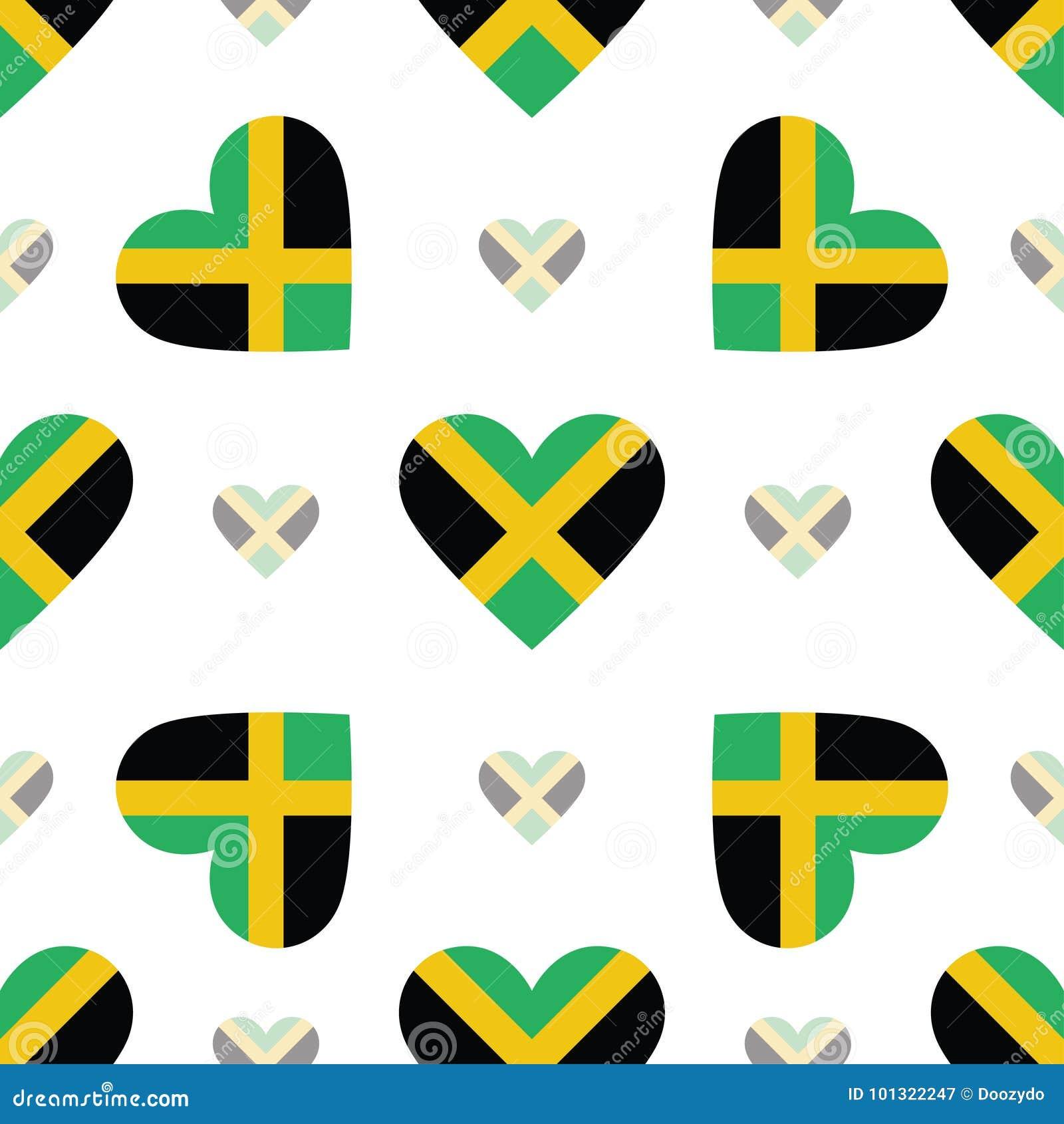 Jamaica flag patriotic seamless pattern