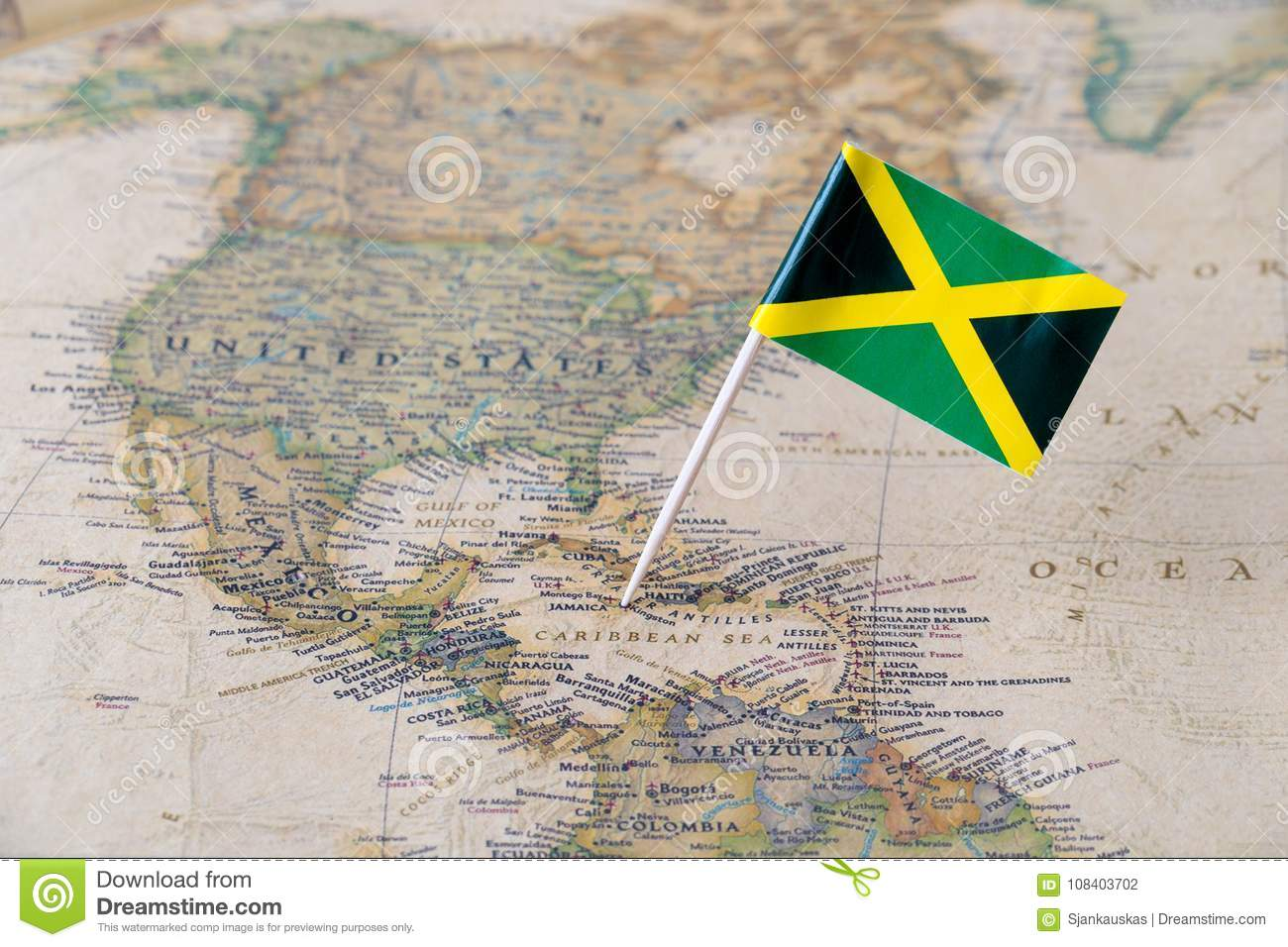 Jamaica flag pin on world map stock photo image of atlas kingston download jamaica flag pin on world map stock photo image of atlas kingston gumiabroncs Image collections