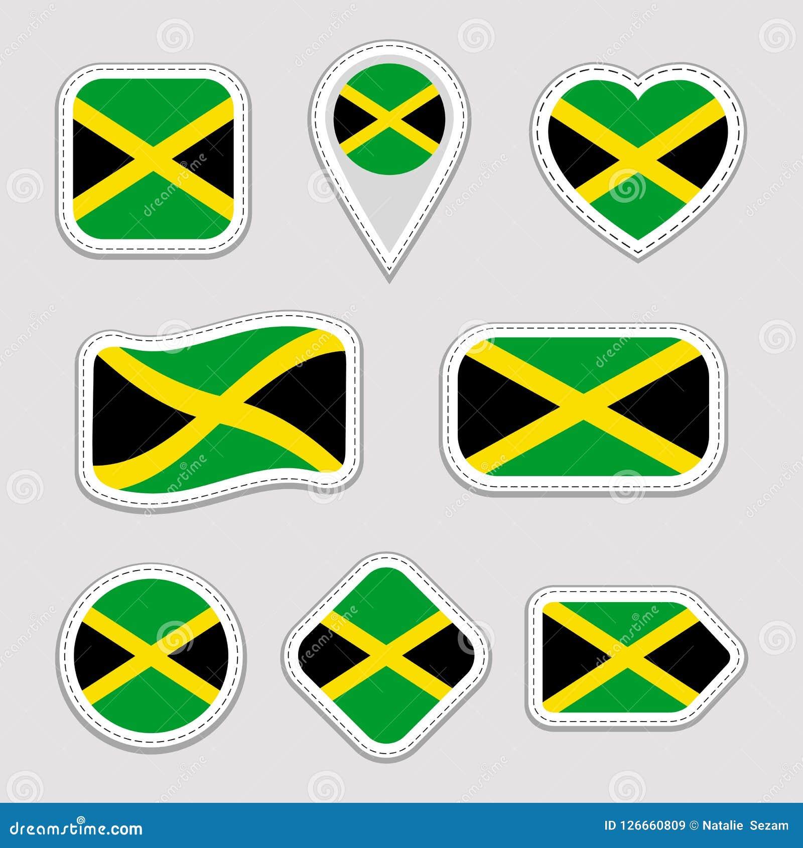 Jamaica Flag Vector Set  Jamaican National Flags Stickers