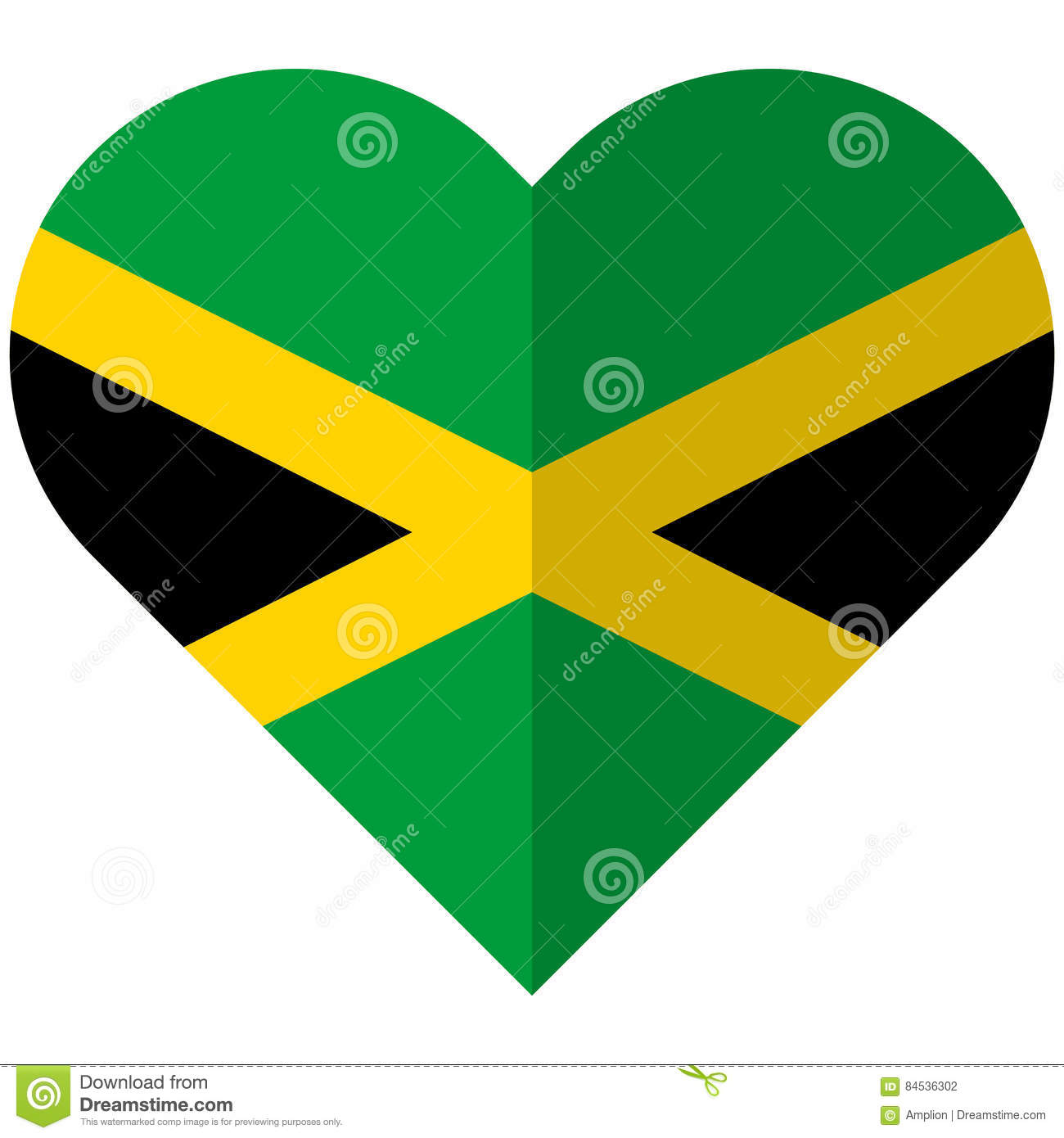 Jamaica flat heart flag