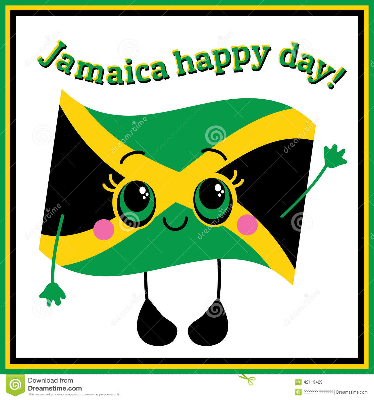 Jamaica Happy Day Greeting Card Stock Vector Illustration Of - Jamaica independence day