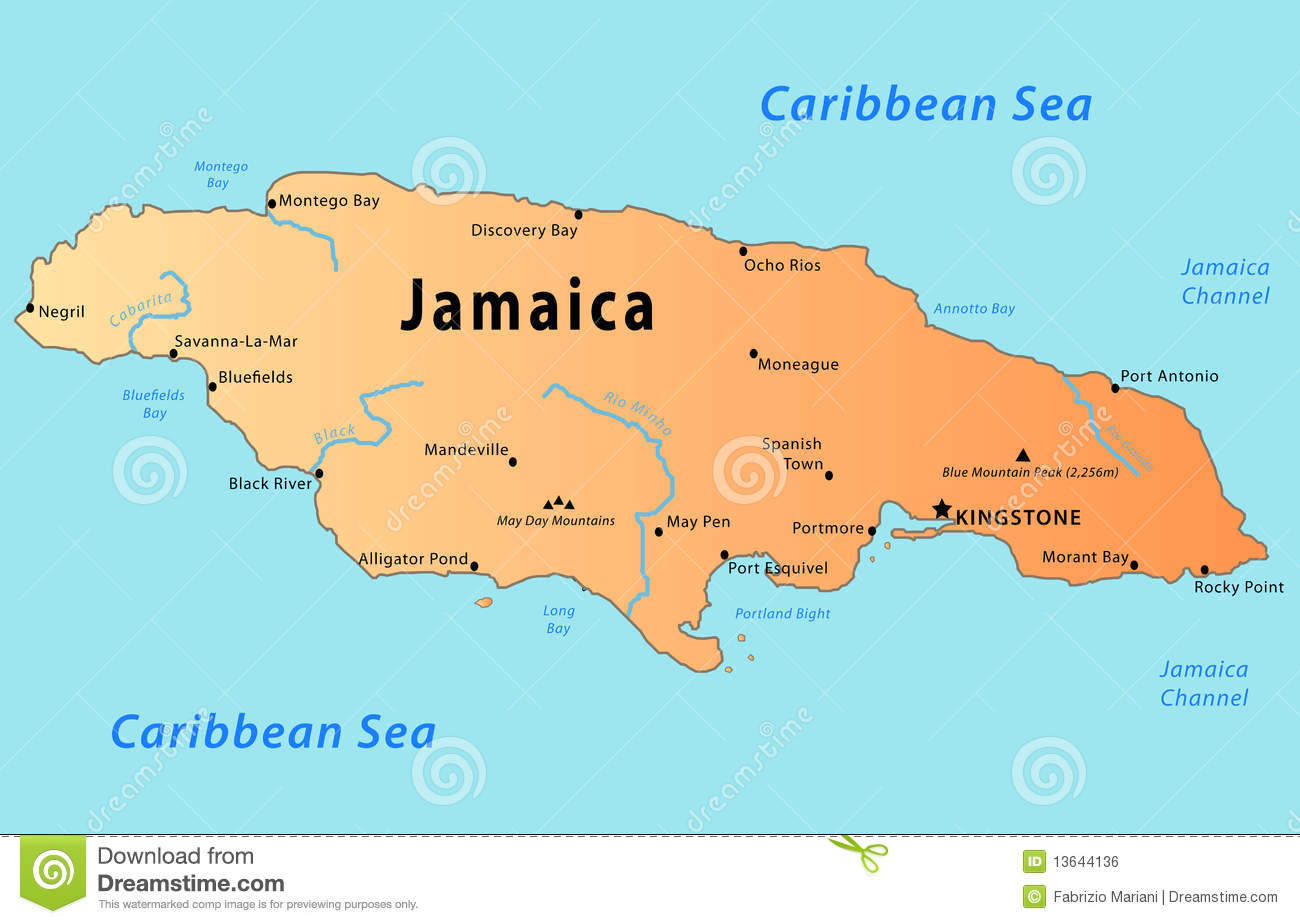 Jamaica map stock vector Illustration of great earth 13644136