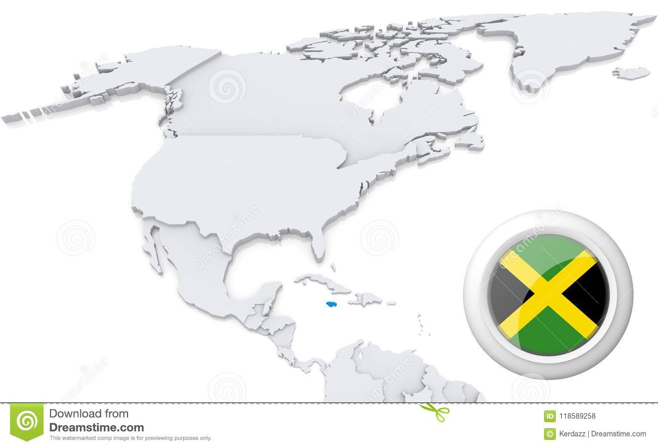 Map Of North America Jamaica.Jamaica On A Map Of North America Stock Illustration