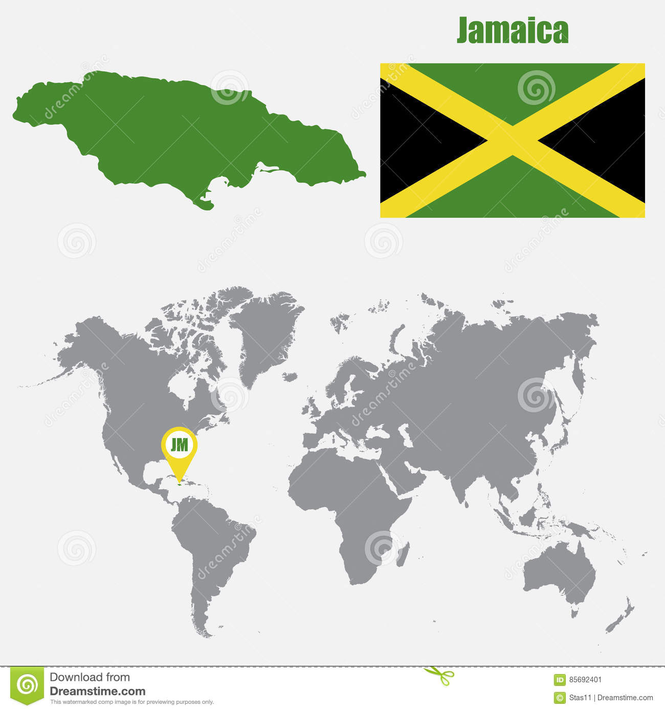 Jamaica Map On A World Map With Flag And Map Pointer. Vector ...