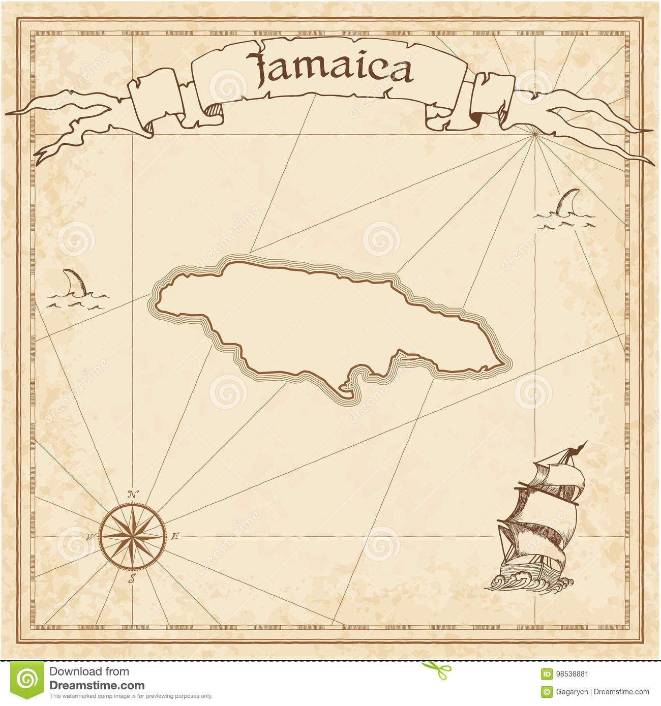 Jamaica Old Treasure Map Stock Vector Illustration Of Antique - Vintage map of jamaica