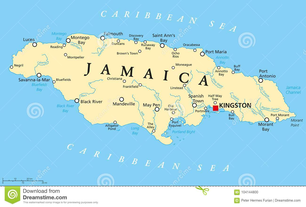 Jamaica On Map Of World.Jamaica Political Map Stock Vector Illustration Of Commonwealth