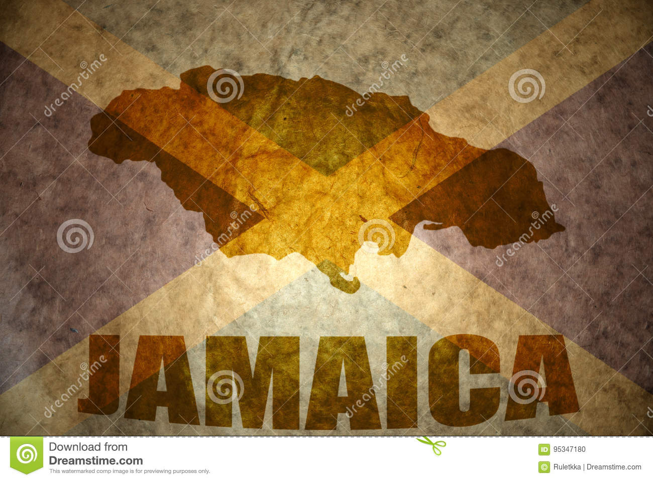 Jamaica Vintage Map Stock Photo Image Of History Ensign - Vintage map of jamaica