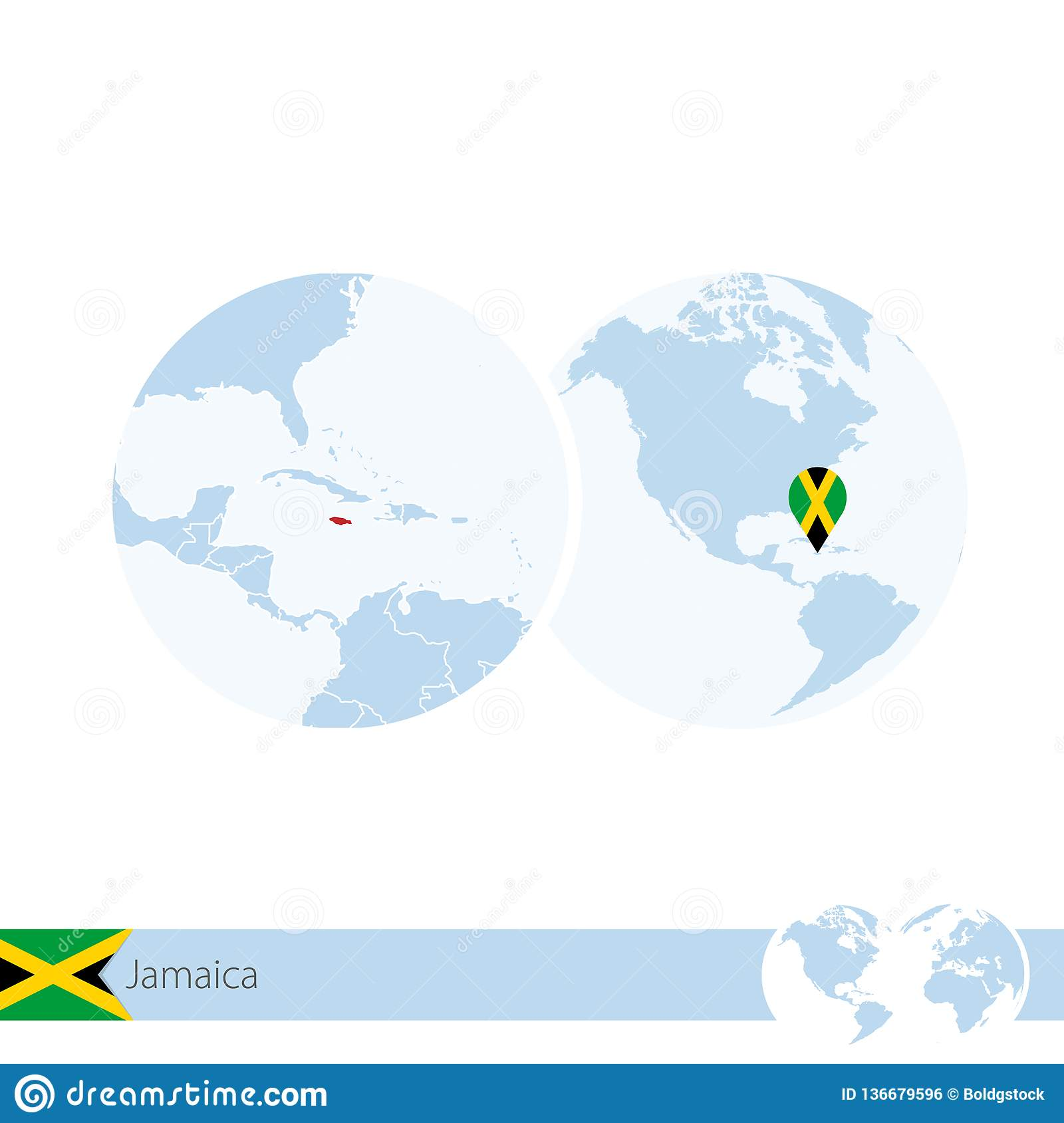 Jamaica On World Globe With Flag And Regional Map Of Jamaica ...