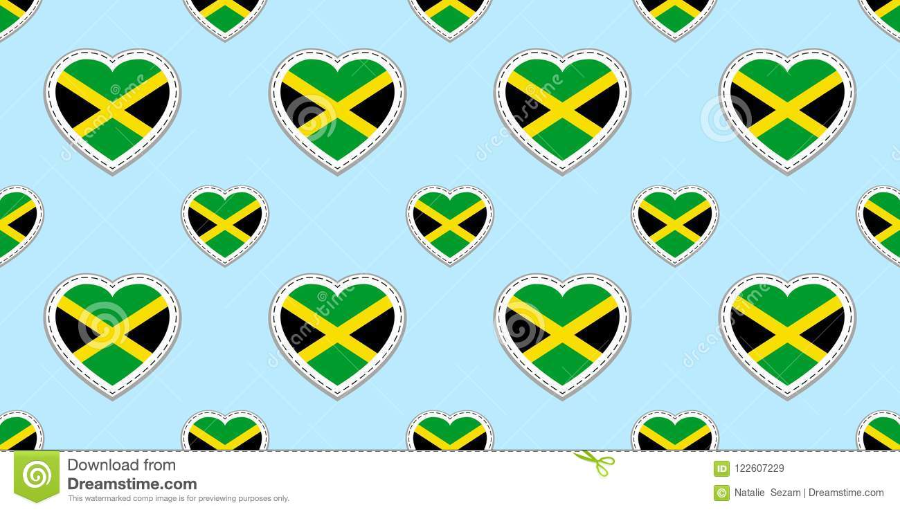 Jamaican Background Jamaica Flag Seamless Pattern Vector Stickers