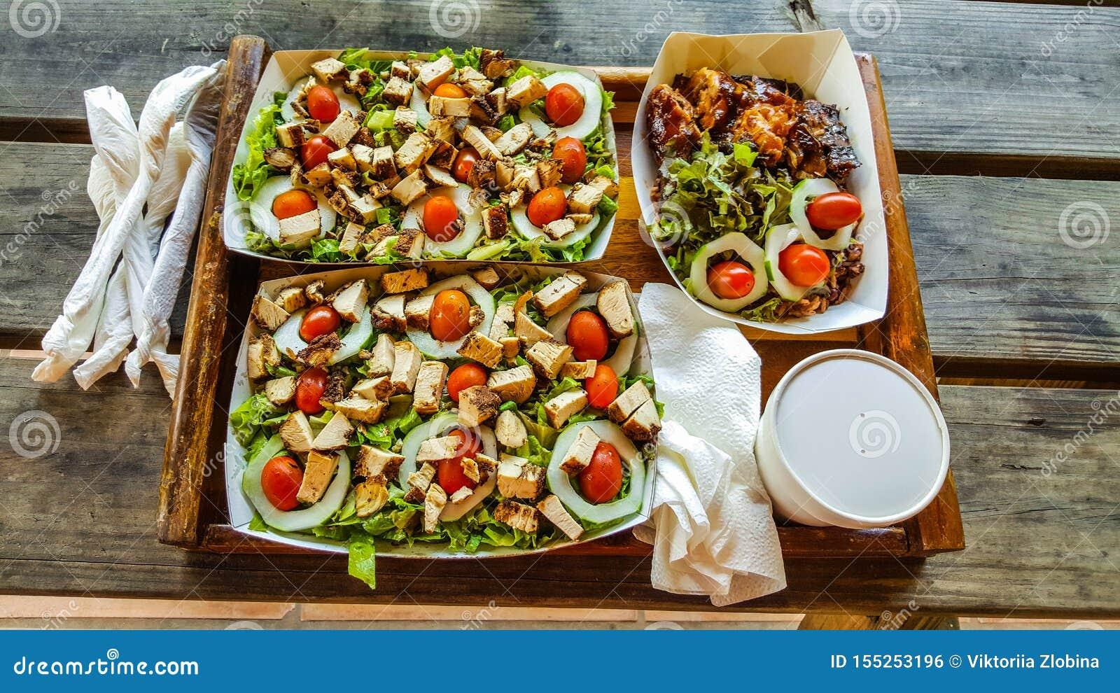 Jamaican Food Jerk Chicken Salad Stock Photo Image Of Chicken Jerk 155253196