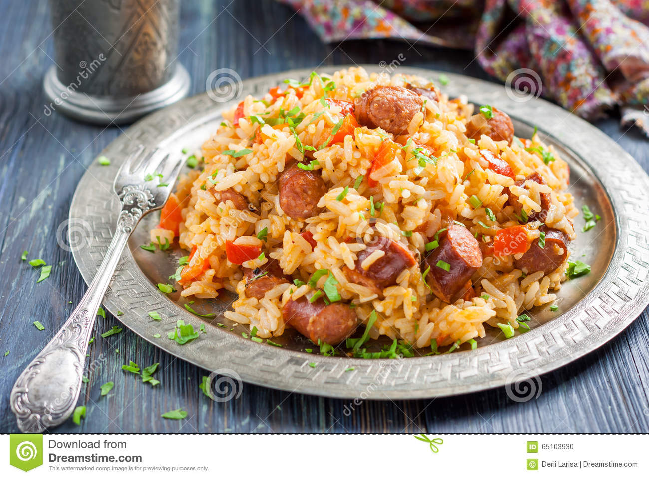 jambalaya riz pic avec la saucisse fum e et le poivron rouge photo stock image 65103930. Black Bedroom Furniture Sets. Home Design Ideas