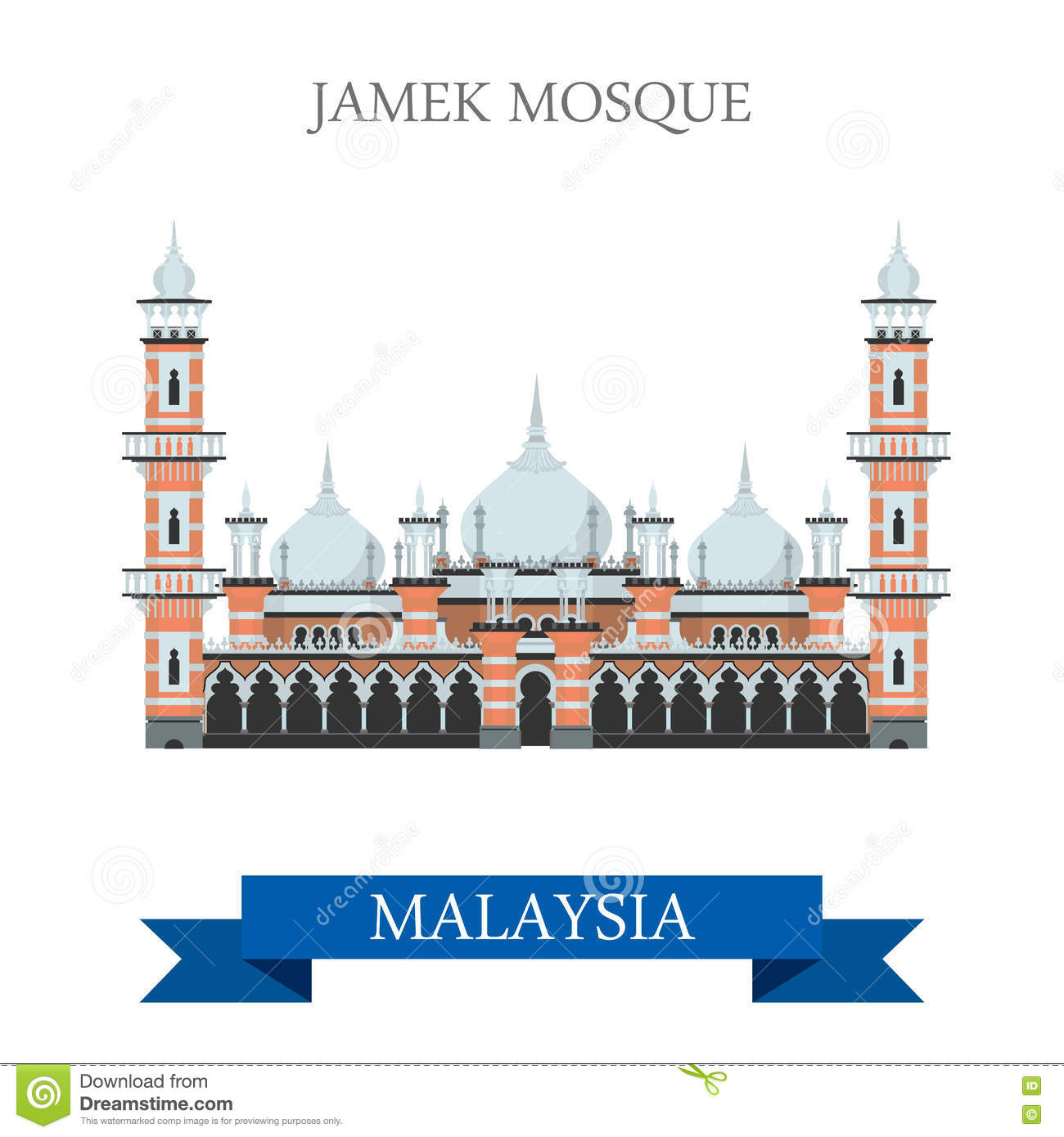 Malaysia Travel Attraction Label Vector Illustration