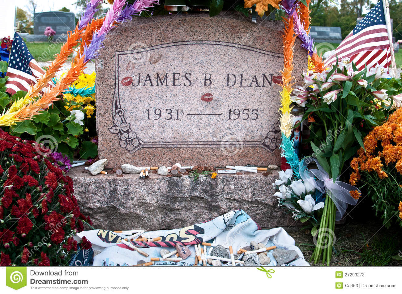 James Dean Headstone At Grave Site Editorial Stock Photo - Image of