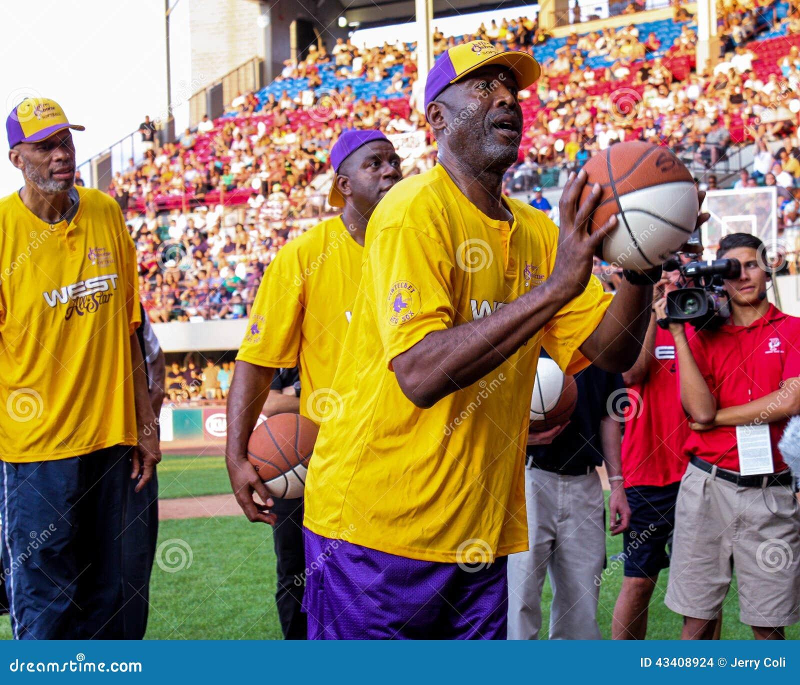 James Worthy Magic Johnson And Kareem Abdul Jabbar Editorial