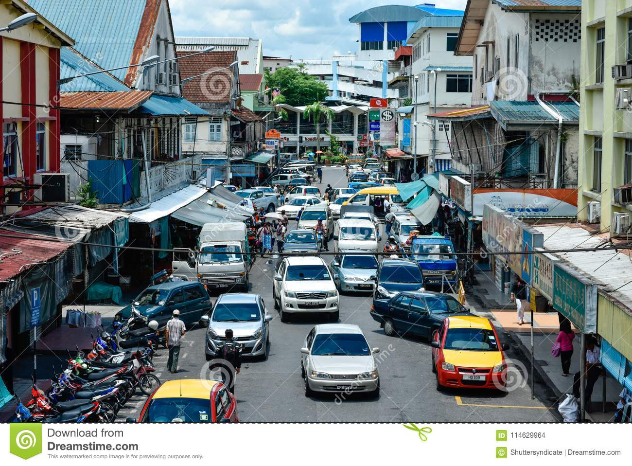 Busy Alley At Downtown Sibu Editorial Stock Image - Image of busy