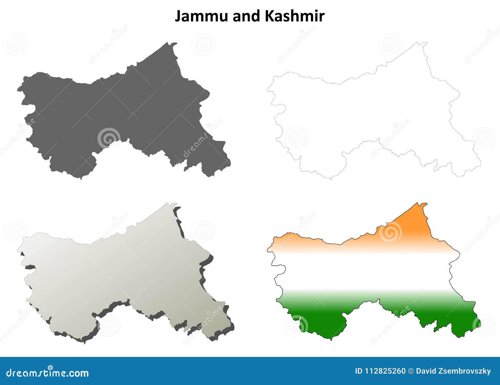 Jammu And Kashmir Blank Outline Map Set Stock Vector - Illustration ...