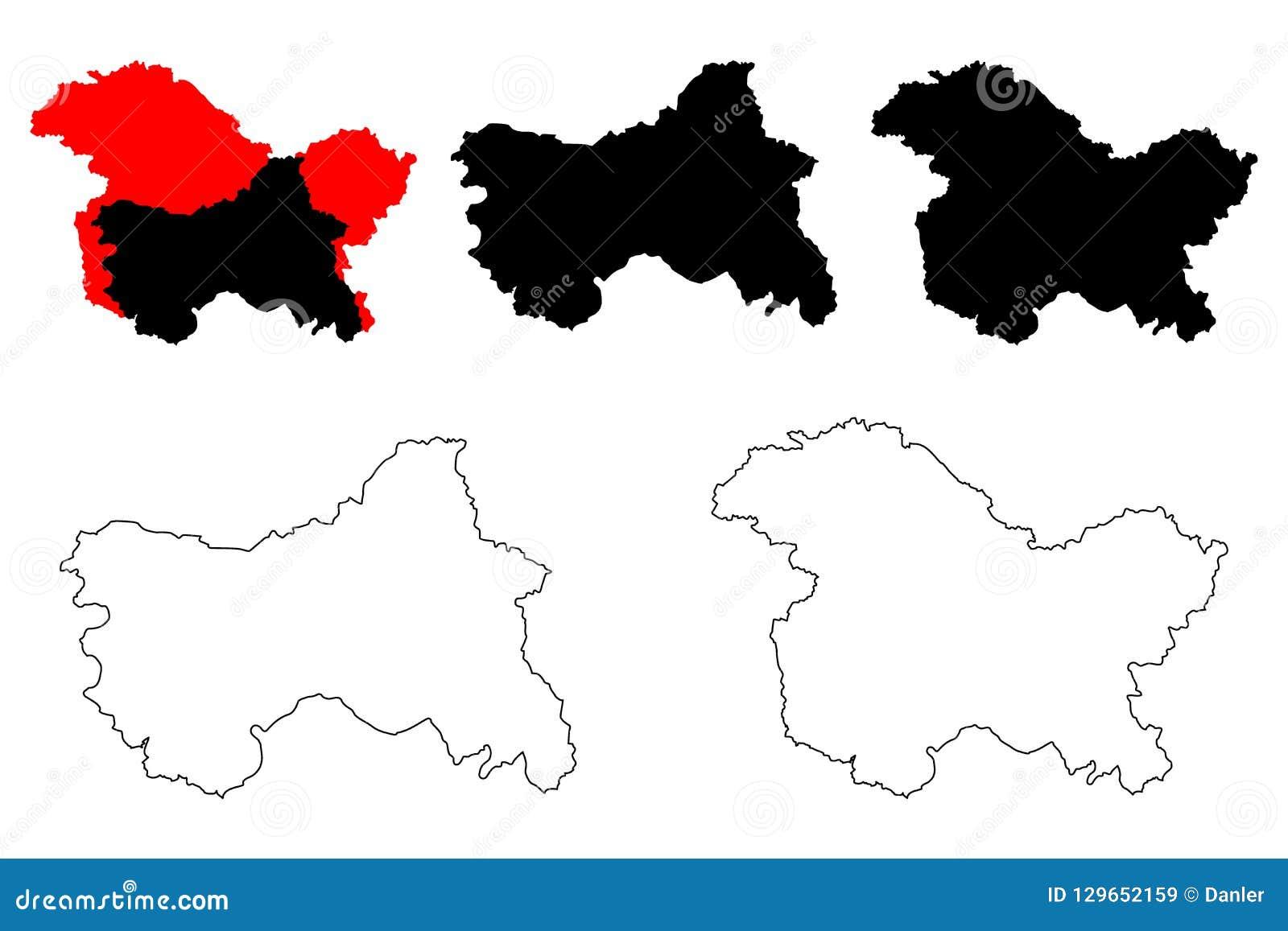 Jammu And Kashmir Map Vector Stock Vector - Illustration of