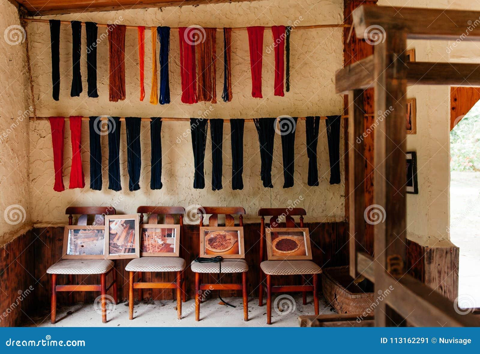 Japanese Vintage Living Room Chairs And Shibori Dye Fabric ...