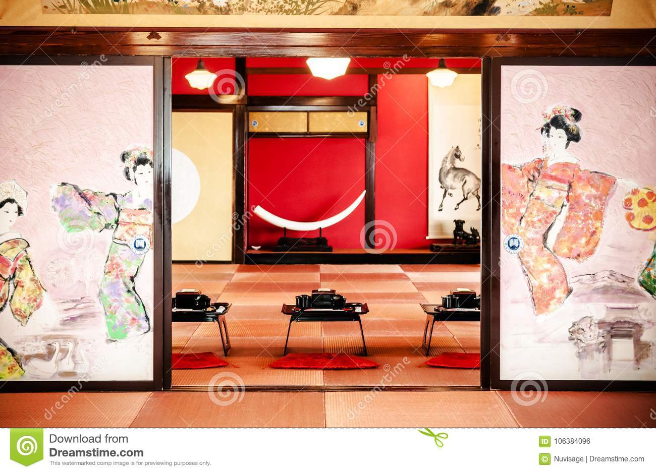 Japanese Vintage Tea Room With Wall Painting And Traditional De