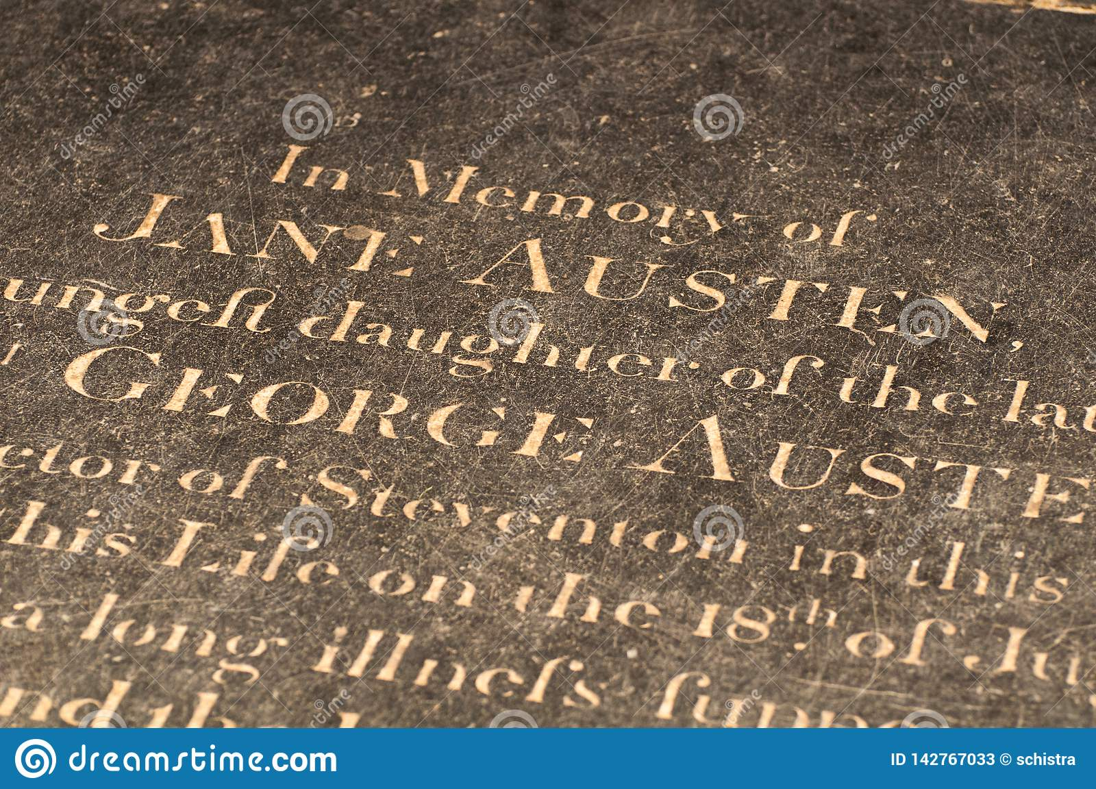Jane Austen`s Grave in Winchester Cathedral, UK