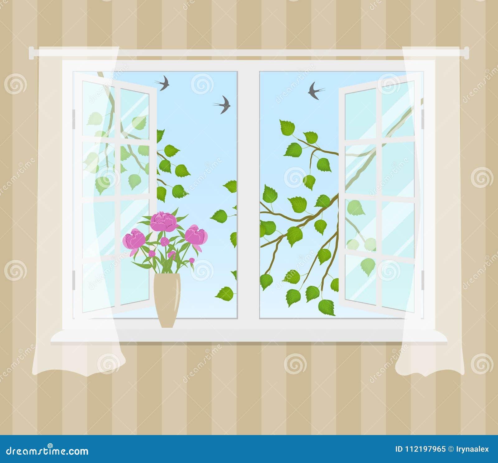 Janela aberta com cortinas em um fundo listrado