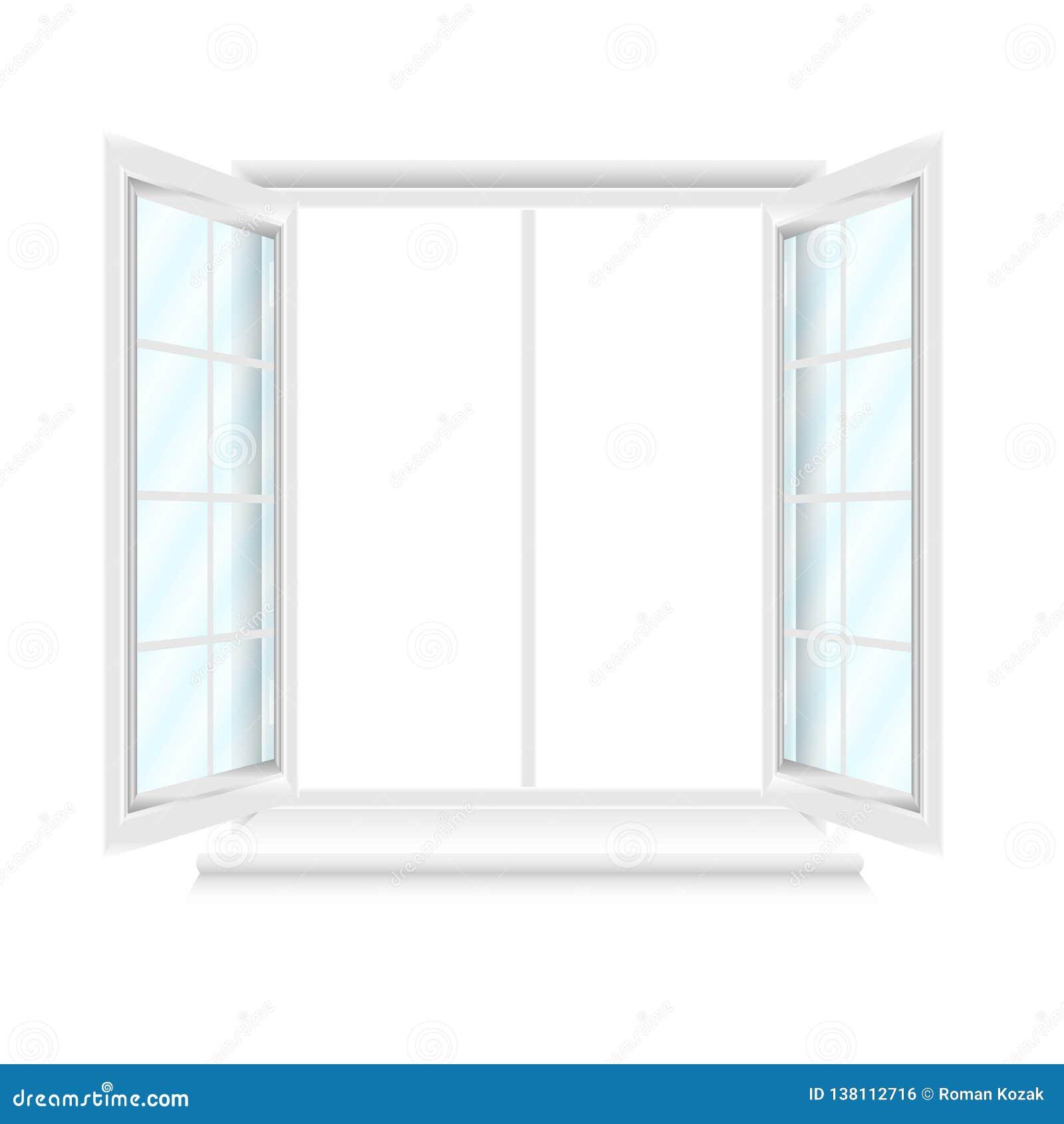 Janela branca aberta com vidros azuis no fundo branco