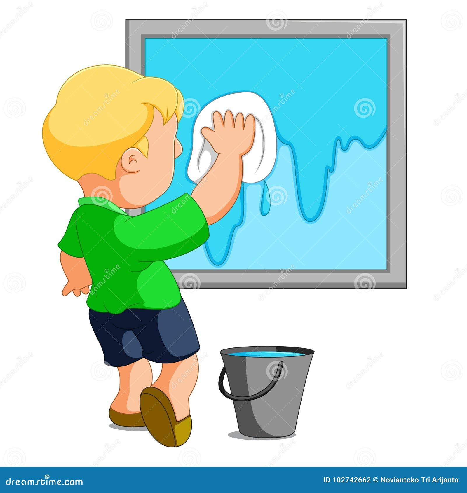 Janela da limpeza da criança