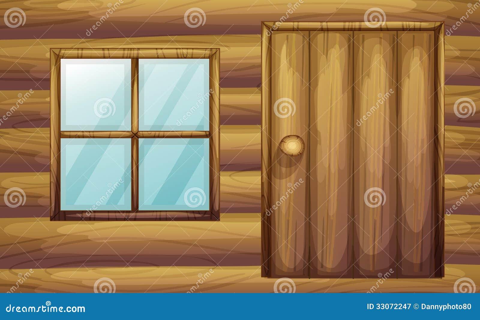 Janela e porta de uma sala de madeira
