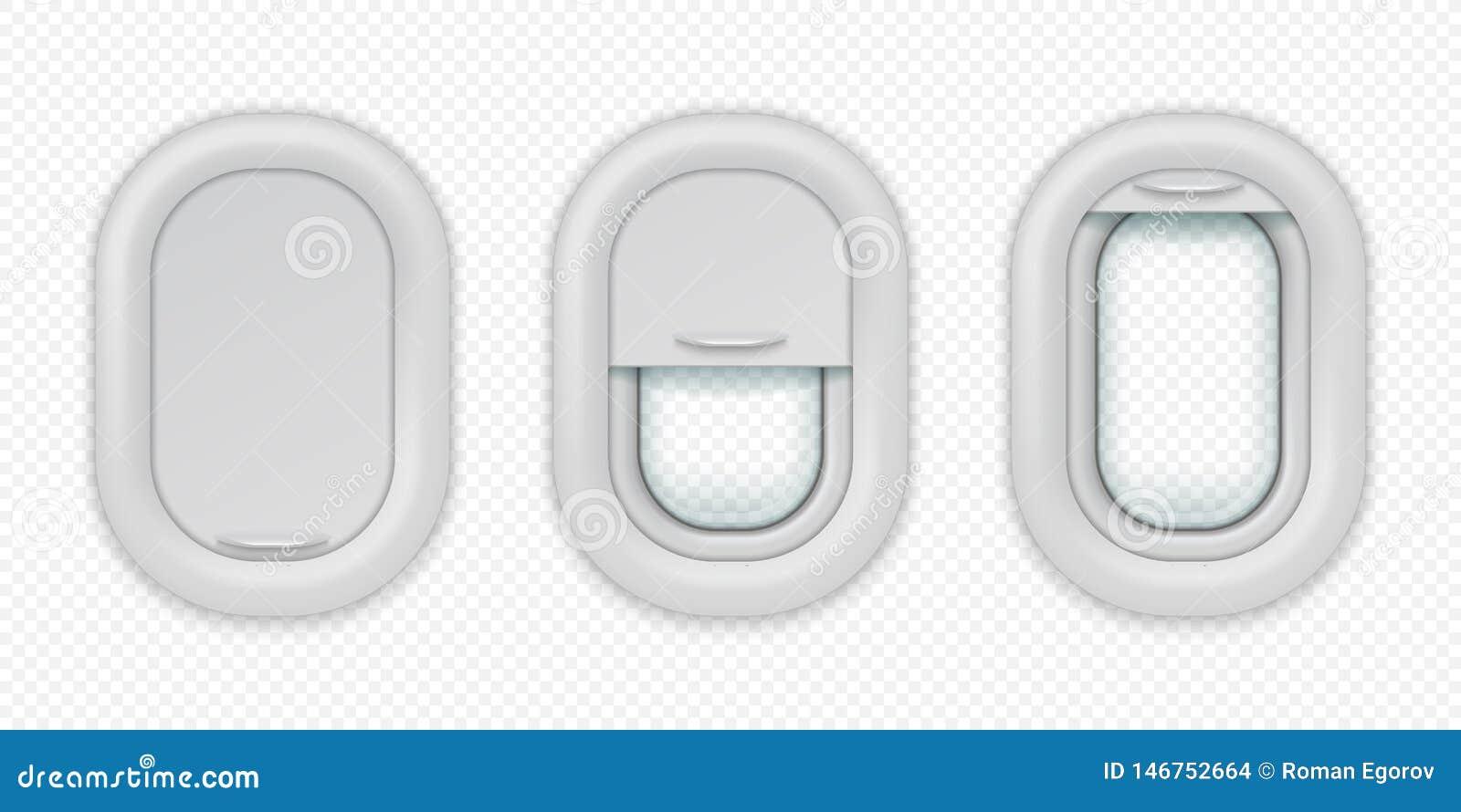 Janelas do avi?o Vigia realística dos aviões em posições diferentes, fechado e entreaberto abertos Vetor isolado