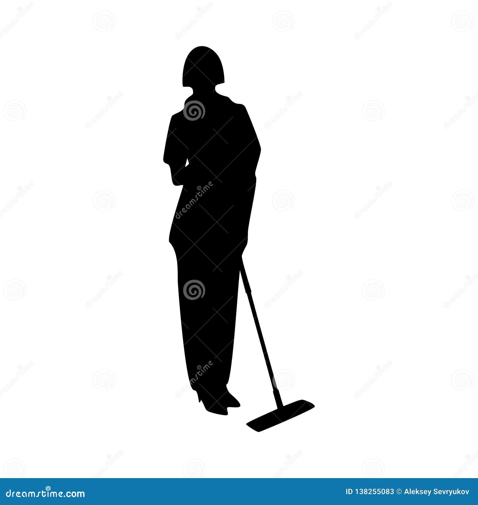 Janitor żeńska wektorowa sylwetka na białym tle