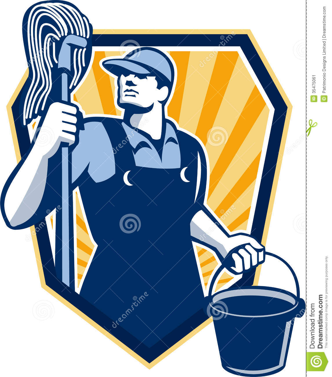 Janitor Cleaner Hold Mop Bucket Shield Retro Stock Image Image 35475061